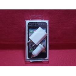 003-IP3X1 CARGADOR IPHONE 3 EN 1 CON PUERTO USB.